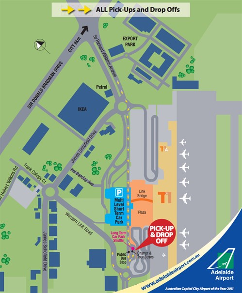 adelaide airport terminal map Adelaide Airport Terminal Customer Pick Up Information East adelaide airport terminal map