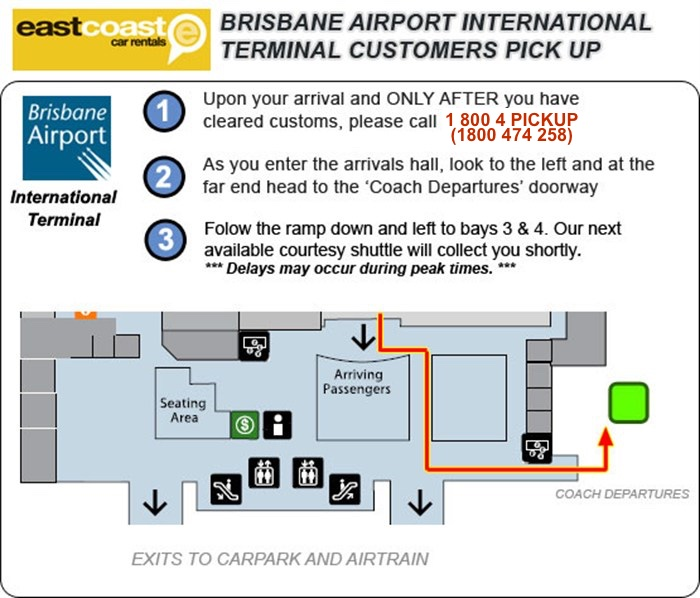Brisbane International Airport Terminal Customer Pick Up Map