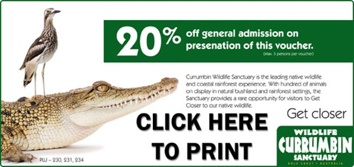 20% Off Currumbin Wildlife Sanctuary Voucher for East Coast Car Rental Customers