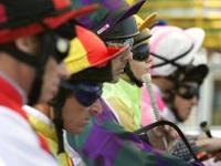 Jockeys Lining up to Race at the Gold Turf Club