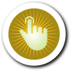 Finger Pressing Button with Yellow Background and White Border with Shadow
