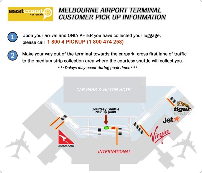 Melbourne Airport International and Domestic Terminal Car Rental Customer Pick Up Location Map