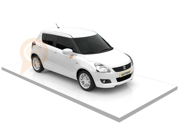 Suzuki Swift Economy Rental Vehicle on Right Angle on White Platform with East Coast Car Rentals Icon