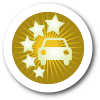 Car Icon with Five Stars on Yellow Background with White Border and Shadow