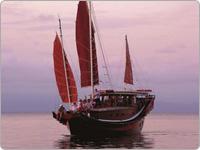 Shaolin Low Isles Port Douglas Great Barrier Reef Cruising Vessel in the Water at Dusk