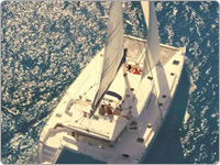 Aerial Photograph of Sailaway Great Barrier Reef Port Douglas Tour Vessel Surrounded by Ocean
