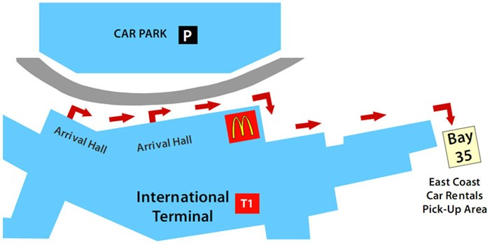 Sydney Airport International Terminal Car Rental Customer Pick Up Location Map