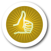Thumbs Up Icon with Yellow Background and White Border with Shadow