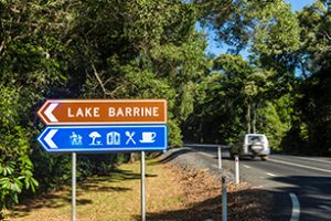 Lake Barrine Directional Street Sign Near Atherton Cairns in Far North Queensland