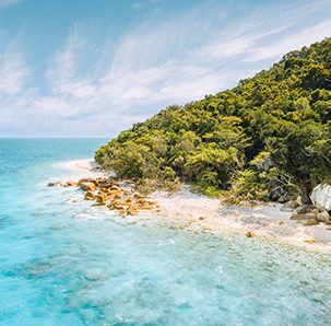 Nudey Beach where the Rainforest Meets the Rocks on Fitzroy Island Cairns in Far North Queensland