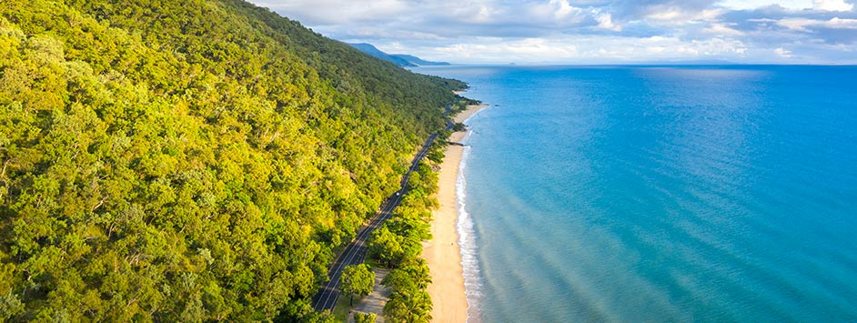 Cairns Ocean Road with Rainforest and Sea Views in Far North Queensland