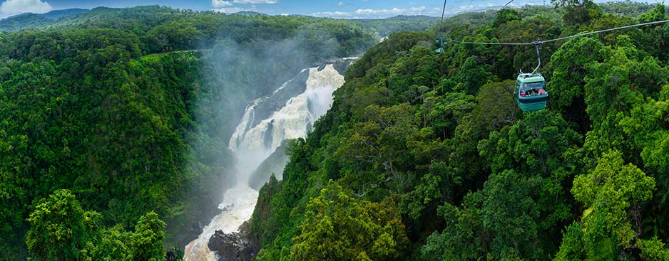 Skyrail Rainforest Cableway Travelling Above Barron Falls in Cairns Far North Queensland